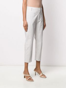 Pinstripe Cropped Trousers - Dondup