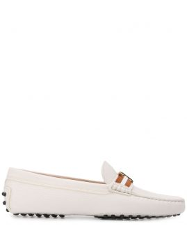 Striped Logo-plaque Loafers - Tods