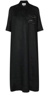 Collared Relaxed Fit Linen Midi Dress - Ganni
