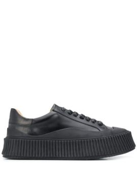 Chunky Sole Leather Sneakers - Jil Sander