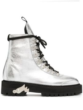 Metallic-finish 45mm Ankle Boots - Off-white