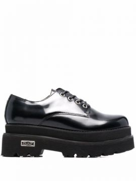 Glossy Platform Lace-up Shoes - Cult