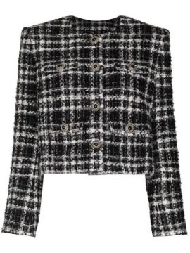Cropped Tweed Checked Jacket - Alessandra Rich