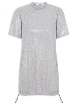 Vestido T-shirt Open Back Holographic Shine - Prata - Gringa