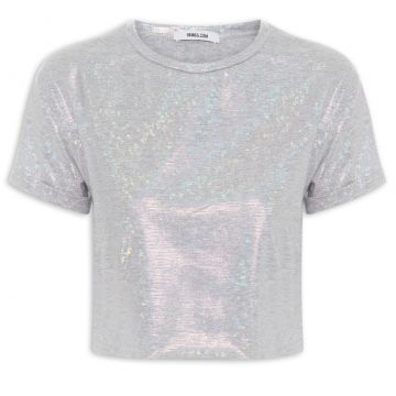 T-shirt Cropped Turned Holographic Shine - Prata - Gringa.co