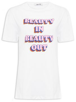 T-shirt Beauty In Beauty Out - Branco - Gringa.com