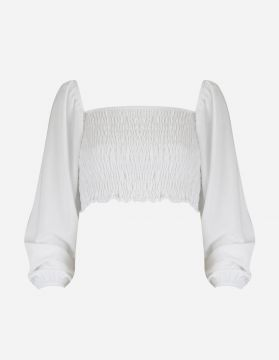 Blusa Cropped Lastex Ciganinha Branco - Lucy In The Sky