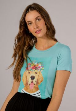 T-shirt Dog Flowers - La Mandinne