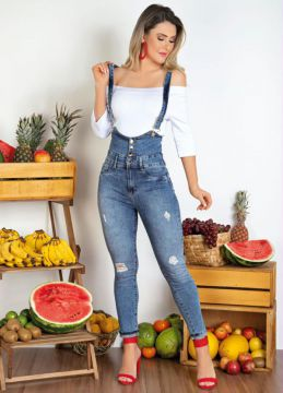 Sawary Jeans - Jardineira Jeans Cropped Destroyed Sawary