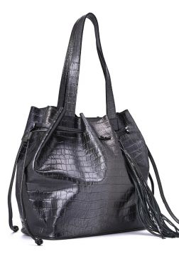 Leather Shopper Bag Degradê Grey - Carmen Steffens