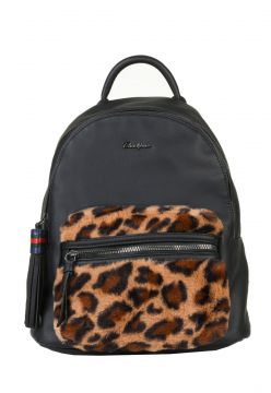 Mochila Feminina David Jones Animal Print Preto