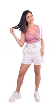 Salopete Jeans ChiliPink Branco