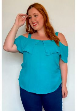 KAUE PLUS SIZE Regata ciganinha plus size azul Regata cigan