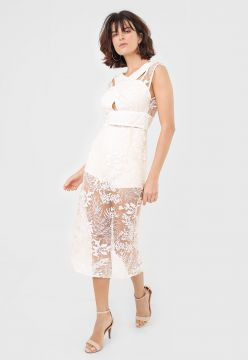 Vestido Forum Midi Tule Bordado Off-White