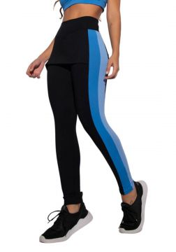 Legging com Saia Fitness Preta e Recorte Bicolor Honey Be L