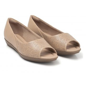 Sapato Peep Toe Piccadilly Joanete Nude 103015-1 Bege