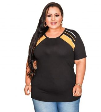 Blusinha Casual Old Store Plus Size Amarelo