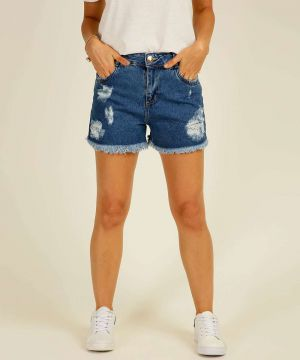 Short Jeans Feminino Destroyed Barra Desfiada Sawary