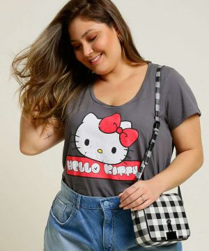 Blusa Plus Size Feminina Hello Kitty Manga Curta Sanrio
